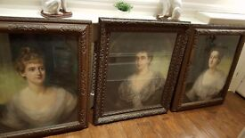 set of 3 antique paintings, portraits , signed 1899 by listed artist in original frames, irish