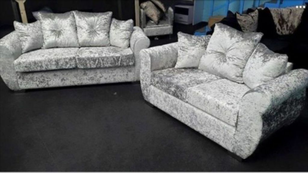 2 and 3 seat sofa set. crushed velvet silver/ice