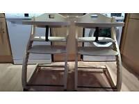 2 x Baby Vivo wooden S-type highchairs