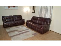 Ex-display Max/Axis burgundy leather electric recliner pair of 3 seater sofas