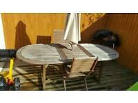 Outdoor garden table 2 chairs and unbrella