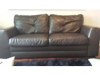3 & 2 seater Brown Leather Sofas.