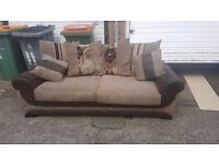 2 Brown 3 seater sofa