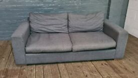 DESIGNER GREY LARGE TWO SEAT SOFA VERY COMFY GOOD CONDITION