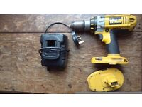 Dewalt cordless drill 18V + one battery and charger