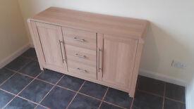 2 door 3 drawer sideboard in light oak finish
