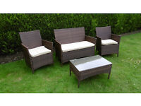 Brand New Rattan Garden Furniture Outdoor Dining Set Conservatory 2 Chairs 1 Sofa Coffee Table