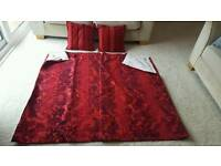 Next curtains each curtain 66 wide x 54 drop. 2 matching cushions. Excellent clean condition.