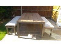 Garden Table and two benches with covers. Table W200xD107xH75cm benches fit under