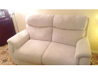 La-Z-boy 2 seater sofa / settee and chair, material covering, Oatmeal in colour, perfect condition