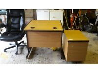 Leather Chair, Half Desk and Set of Drawers