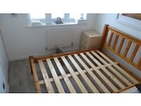 Solid Pine Double bed frame with chunky legs