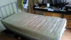 Single bed - metal frame and mattress