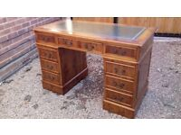 Antique Regency Style Yew Leather Topped Pedestal Writing Desk