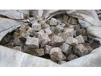 1 m2 of Reclaimed Grey Mini Granite Cobbles | Setts | Cubes | Border | Stone