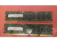 PAIR OF SAMSUNG M378T6553EZS-CE6 1Rx8 DDR2 PC2-5300U 1gb