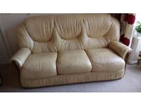 3 Piece Leather Suite - Antique Cream/Buttermilk