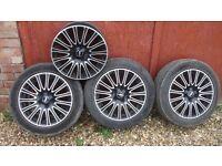 RIAL 16X7 BLACK MULTISPOKE ALLOY WHEELS, AS NEW, £100.00