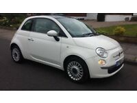Fiat 500 1.2 Lounge 2010 60 reg 55000 with Panoramic Roof MOT £30 Road Tax, High Spec Car