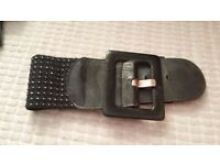 Used Black with Silver Speckled Elastic Stretchy High Waist Belt