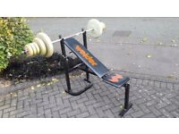 WEIDER WEIGHTS BENCH WITH BARBELL & WEIGHTS