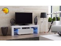 Modern TV Unit 130cm Cabinet Stand White Matt & White High Gloss + RGB LED Lights