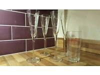 4 tall champagne flutes- star engraved