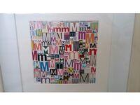 Original one-off art work: 'newsprint-style' Handmade M collage, professionally framed. £55
