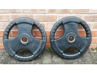 2 x 20KG BODYMAX & BODY POWER OLYMPIC RUBBER TRI GRIP or BODY POWER WEIGHT PLATES - 2 Inch Holes
