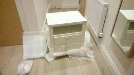 Bedside Table - Solid Wood, White veneer.