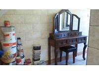 DRESSING TABLE WITH DRAWERS,TRIPLE MIRROR WITH DRAWERS,IDEAL FOR PAINTING 2 MATCH YOUR COLOUR SCHEME