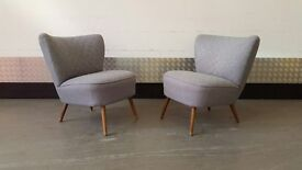 Pair of Vintage Retro Cocktail Armchairs Chairs Design Midcentury NEW UPHOLSTERY