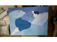 Beautiful Stretched Canvas Painting of Woman Sleeping (80cmx60cm) - FREE