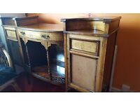 BEAUTIFUL ANTIQUE EDWARDIAN WOODEN SIDE CABINET WITH TWO CUPBOARDS