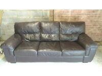 Leather Sofa Dark Brown 3 Seater