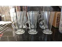 Set of six tall latte glasses