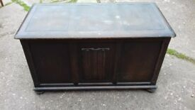 Priory Oak Chest With Bun Feet In Good Solid Original Condition Just Needs Polish