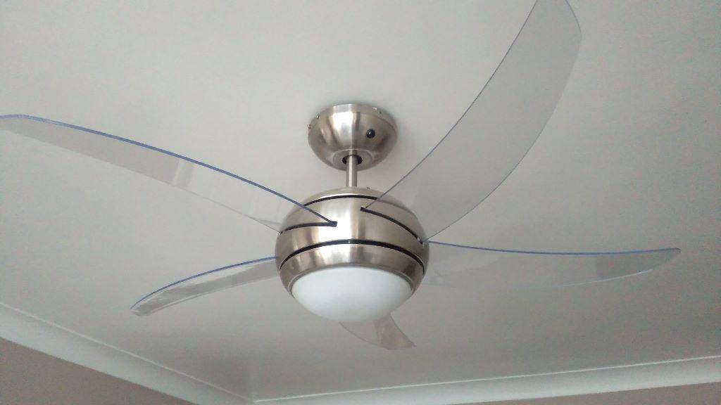 Argos manhattan satin ceiling light fan nickel