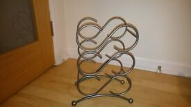 Wrought Iron Silver Coloured Wine Rack
