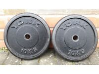 VARIETY OF BRANDED 10KG CAST IRON WEIGHT PLATES