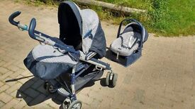 Mamas & Papas Pramette Travel System including Pushchair/Pram and Car Seat with base.