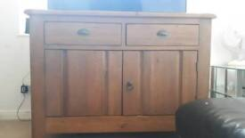Real solid oak wood storage unit/tv stand