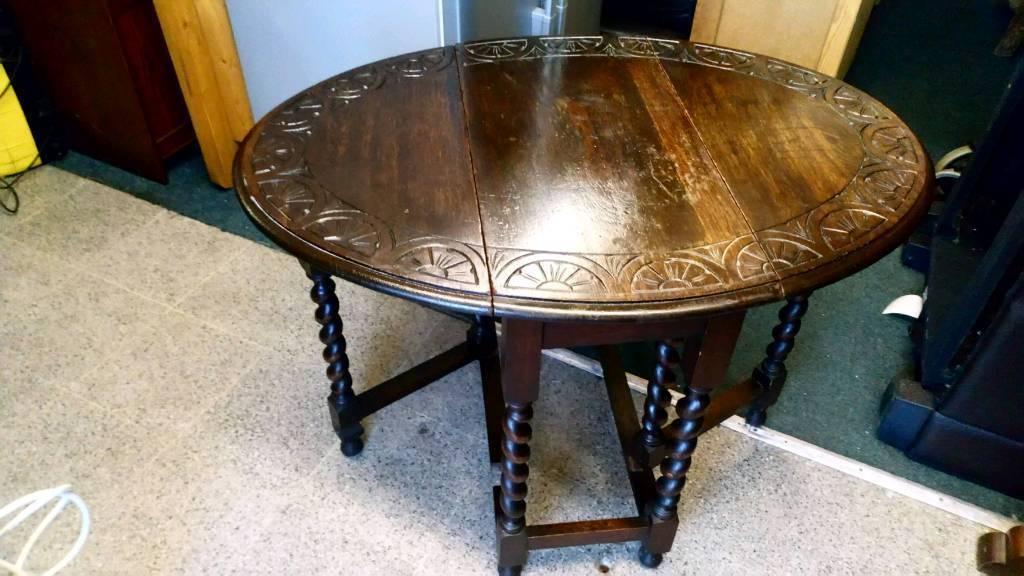 Vintage Solid Oak Table Carved