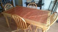 Beautiful 5PC Solid Wood and TileDining Table and Chairs