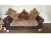 Brown sofa and chair