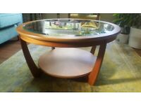 Nathan Shades Teak Glass Top Round Coffee Table