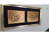 Two Gold-coloured Marine Etchings