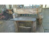 Bench and table, log bird bath
