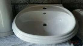 White Porcelain sink and pedestal