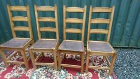 Dining chairs X 4 solid oak